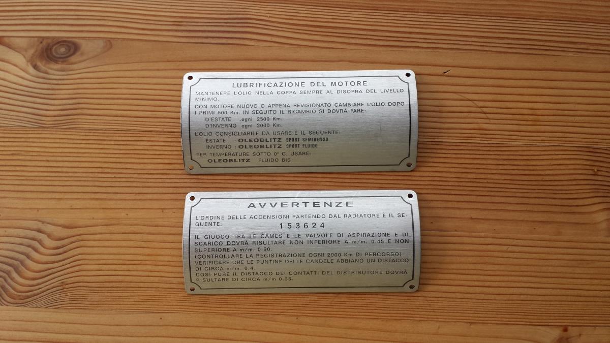 Plates for Alfa Romeo 6C 2500