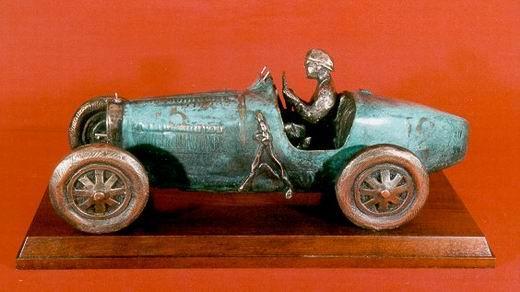 Bugatti 35 bronze sculpture